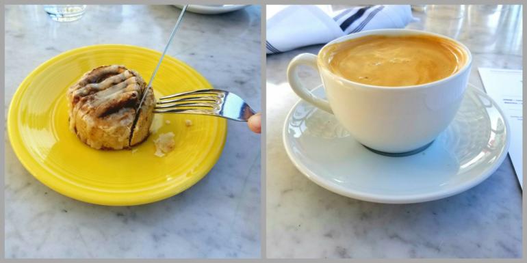 Vegan latte and cinnabon